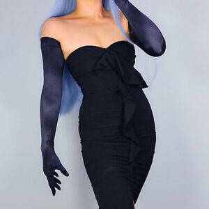 SATIN GLOVES Stretchy Silk Opera Evening Extra Long 70cm 28' Hepburn Black