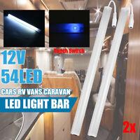 54 LED Strip Light Bar 12V Interior Lamp Car Van Caravan RV Boat Touch Switch