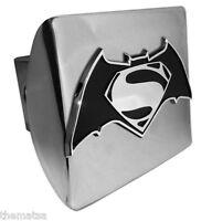 SUPERMAN S BATMAN EMBLEM ON SHINY CHROME METAL USA MADE TRAILER HITCH COVER