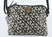 TOMMY HILFIGER Monogram Fabric Small Shoulder / Crossbody Bag, Black/Natural