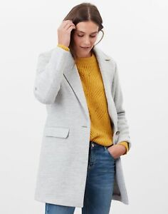 Joules Womens Eve Wool Coat - Grey Check