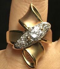 14k solid real Gold Yellow white Rose tri Ring manmade Diamond 9.2g 8 6 7 9 10
