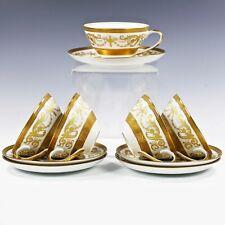 5 tea Cups and 5 Saucers Vintage Bohemian Premium porcelain De Luxe gold