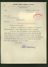 GRAND TRUNK RAILWAY signed 1907 letter by vice president H. C. Martin * railroad