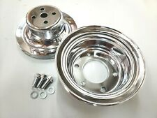 SBF Small Block Ford 1 Groove Chrome Steel Pulley Kit 3 Bolt Crank 1964.5 66 V8