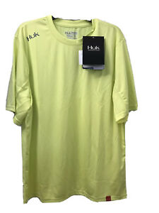 NWT Huk Performance Fishing Icon Short Sleeve Yellow Next level Men S pullover