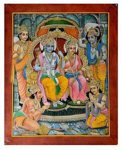 Ancient Ram Darbar Religious Fine Detailed Handmade Miniature Painting