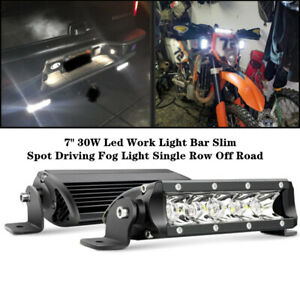 1X Auto 30W LED Work Light Bar Slim Spot Driving Fog Light Single Row Off Road