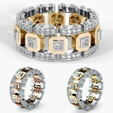 Band Ring Engagement Wedding Jewelry Fashion Men Women Stainless Steel Crystal