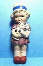 Vintage Bisque Doll  Little Girl Holding Her Cat Figurine