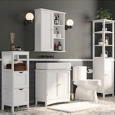 VASAGLE Badezimmermöbel Badschrank Hängeschrank Wandschrank Regal Badmöbel Weiß