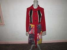 SPARROW Red Black Gray Multi-Print Lambswool Knit Belted Trench Sweatercoat Sz L