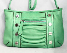 TIGNANELLO Green Pebbled Leather Crossbody Pleated w/ Screw Head Studs