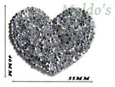 Crystal Applique Bridal Patch Motif Gorgeous Iron Rhinestone Wedding Silver 163