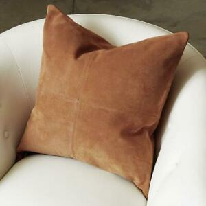 Genuine Suede Leather Round Pillow Covers, Soft Leather Cushion Case, Living