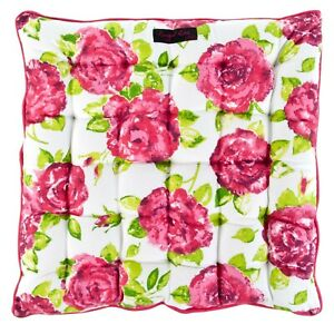 Rose/ Stripe  Print Seat Pads -  40 x 40 cms for Kitchen Chairs, Garden Seating