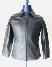 Eddie Bauer Leather Jacket Black Buckle Womens Size Small