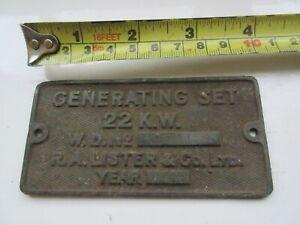 vintage lister 22kw generating set brass plate