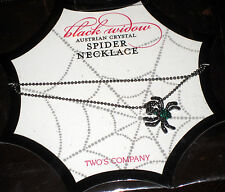 "SPIDER Necklace Austrian Crystal Green Accents Black Widow 17"" Halloween New"