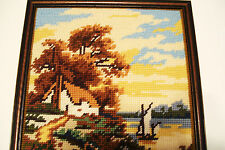 Completed Needlepoint Country Cottage by Lake Framed 10x13 inches Vintage 1970s