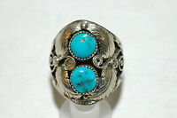Mens Navajo 2 stone turquoise leaf form ring Sterling Silver  signed