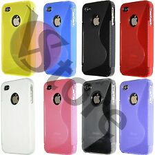 Cover Custodia Per iPhone 4/4G/4S in Silicone Gel TPU S-Line + Pellicola Display