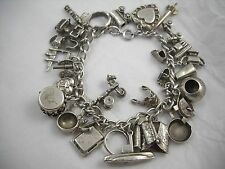 Vintage Sterling WWII Travelers Charm Bracelet 30 Charms Original Bracelet! (A)