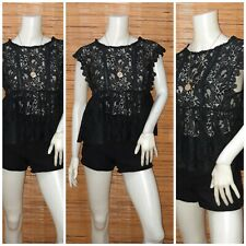 SHEER BLACK LACE PEPLUM TOP S