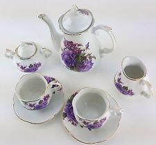 PETITE PURPLE ROSES PORCELAIN TEA SET TEAPOT SUGAR BOWL CREAMER 2 TEACUPS