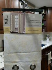 2 Grommet Panels Yellow White 40x84 One Pair  Printed Cotton  Blend