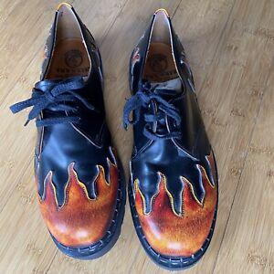 Vtg Tredair Doc Martens Sunburst Flames Oxford Shoes Mens 12 Rockabilly Hipster