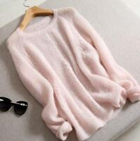 Women's Classic Cashmere Round V-Neck Long Sleeve Knit Sweater Cardigan Tops
