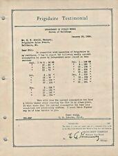 1926 REFRIGERATOR Frigidaire Original Typed Testimonial Electric Consumption