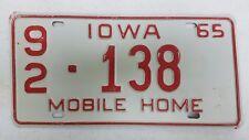 1965 IOWA Washington County Mobile Home License Plate 92-138