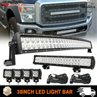 "30/32"" Curved Led Light Bar+ 20/22""+ 4"" 18W Pods Combo Kit Offroad Driving Light"