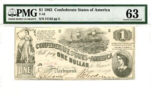 1862   $1   Confederate Currency  T-44 Bright White   PMG 63