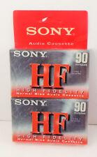 2 Pack Sony HF High Fidelity 90 min Normal Bias Blank Audio Cassette Tape MUSIC