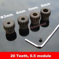 Steel Metal 20 Teeth Pinion Gear 0.5 Module Spur Gear Motor Shaft Spindle Robot