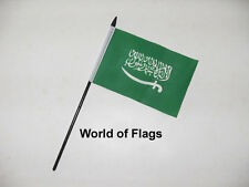 "SAUDI ARABIA SMALL HAND WAVING FLAG 6"" x 4"" Arabian Crafts Table Desk Display"