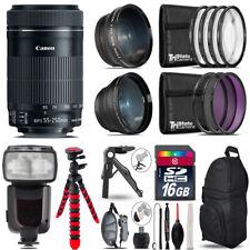 Canon 55-250mm IS STM - 3 Lens Kit + Professional Flash - 16GB Accessory Bundle