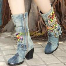 Womens Hot Cowboy Western Denim Mid Calf Boots Block Heel Vintage Zip Jean Shoes