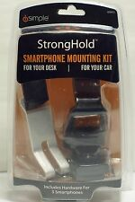 NEW StrongHold Smartphone Mounting Kit for Desk and Car - Black / Silver ISSH73