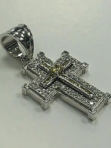 LARGE MEN'S CROSS New FINE 925 STERLING SILVER w/ SHINY WHITE & YELLOW CZ STONES