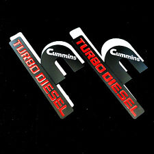 2 Black Cummins Turbo Diesel For DODGE RAM 1500 2500 3500 Emblem Badge Fender