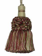 "Conso Empress 21951 W117 WINE Doric Khaki Green Pebble 4"" Decorative Key Tassel"