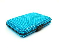 Blue Bling Aluminum Wallet RFID Blocking Expanding Minimalist Lightweight
