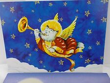 Christmas cards Angel Cat Horn Halo lot of 6 holiday card note snowman envelope