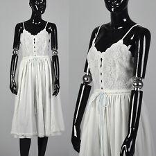 XXS 1950s Anne Fogarty VTG Nightgown White Nylon Blue Semi Sheer Lace  Chiffon 0da8a219c