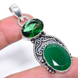 "African Green Onyx & Chrome Diopside Ethnic Handmade Pendant 2.2"" S2672"