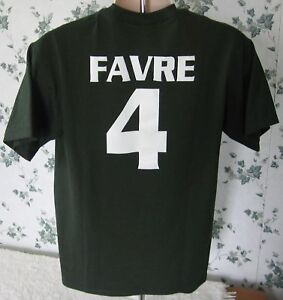 Brett Favre New York Jets Men's Medium T-Shirt Green Short Sleeve da JETS
